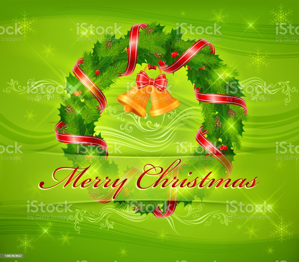 Christmas wreath and bells & text royalty-free christmas wreath and bells text stock vector art & more images of bell