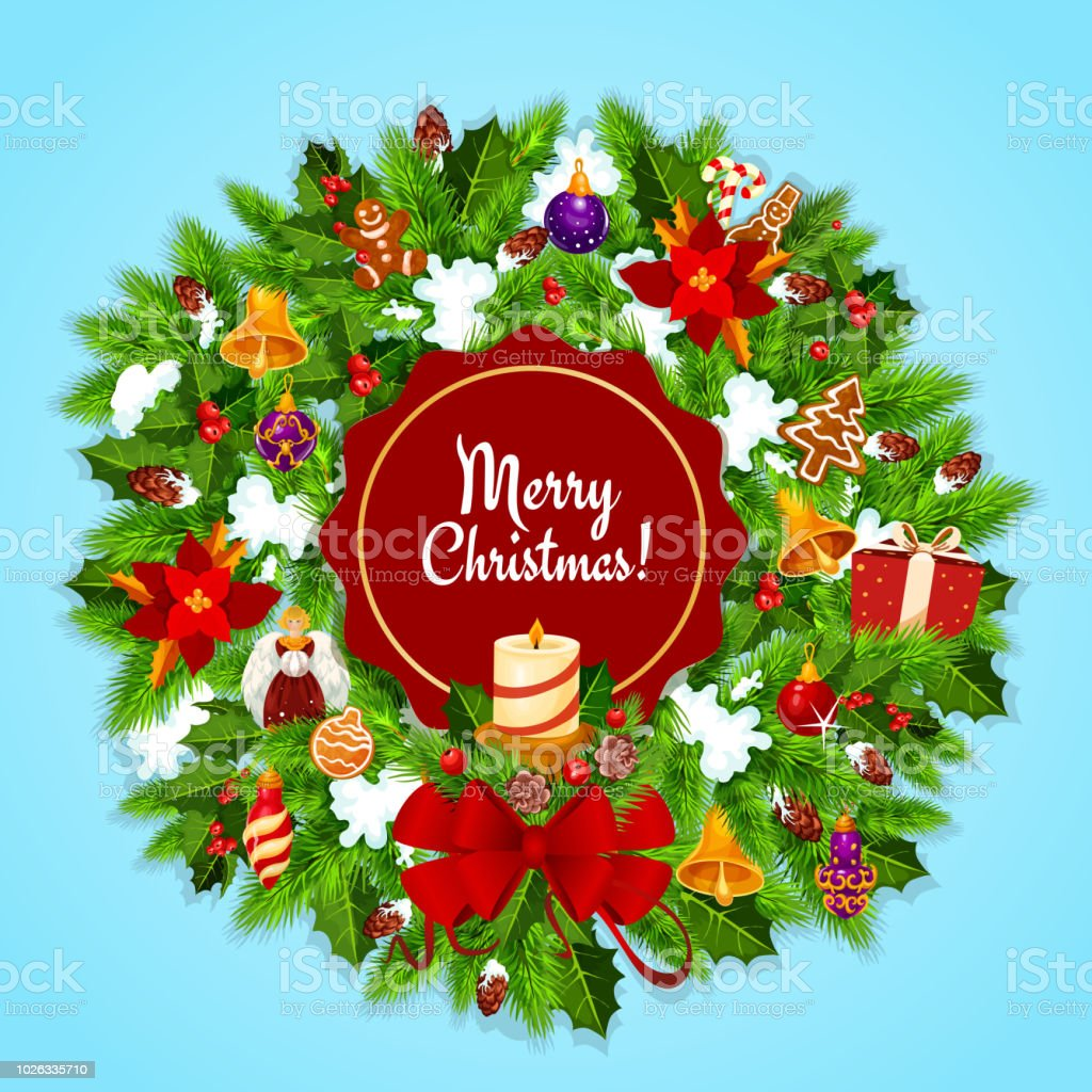 Christmas Wreath And Candle For Xmas Greeting Card Stock Vector Art ...