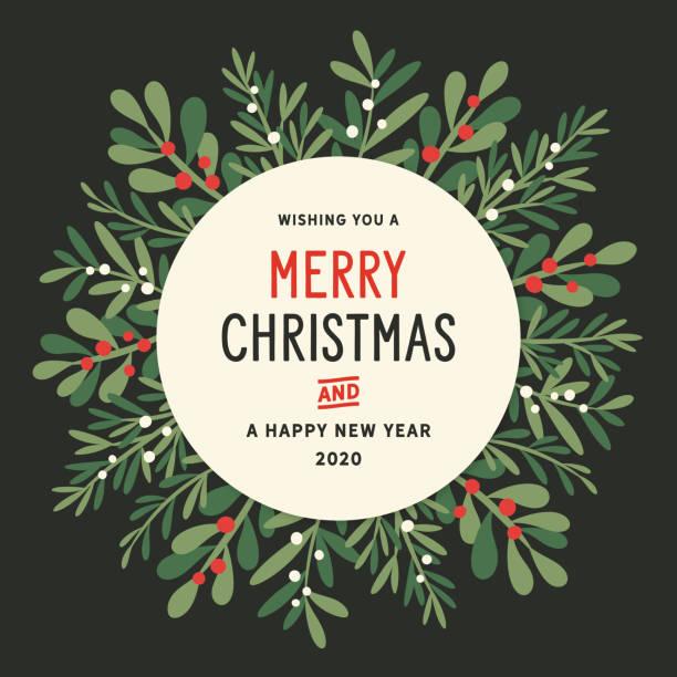 bildbanksillustrationer, clip art samt tecknat material och ikoner med jul krans bakgrund - christmas card