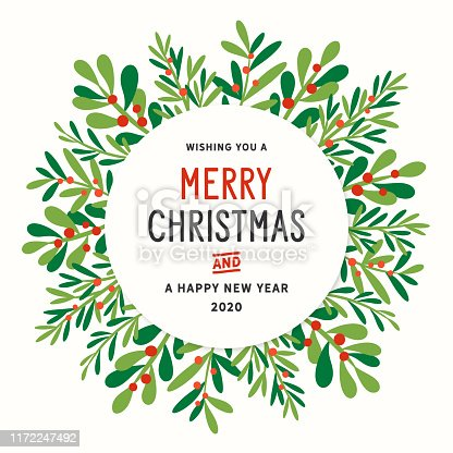 Holiday, Christmas wreath greeting card, invitation with stylized mistletoe and other branches and leaves.