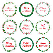 Set of New year, Christmas doodle hand drawn floral wreath frames. Used brushes included. Vector illustration
