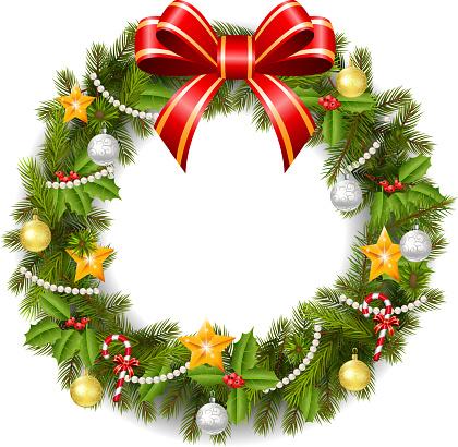 Christmas Wreath Cartoon Stock Illustration - Download Image Now - iStock