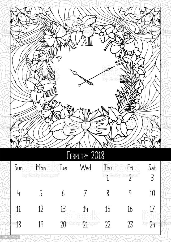 christmas wreath clock coloring book page calendar royalty free christmas wreath clock coloring book
