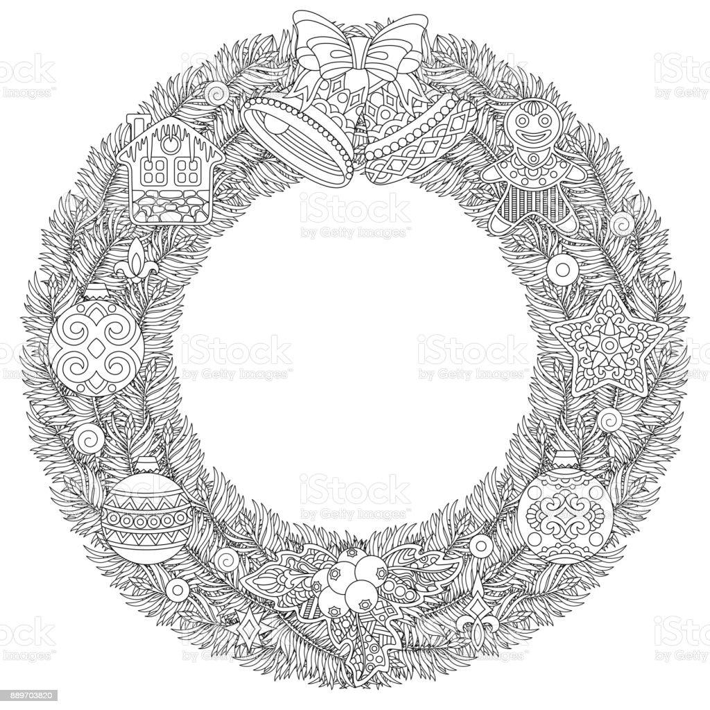 Corona De Navidad Para Colorear Página Del Libro - Arte vectorial de ...