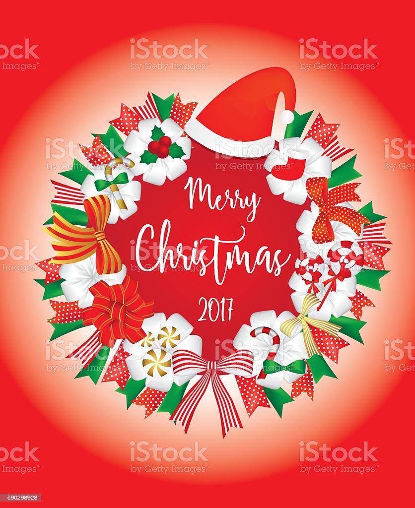 Christmas Wreath decoration with santa hat candy and ribbon royaltyfri christmas wreath decoration with santa hat candy and ribbon-vektorgrafik och fler bilder på abstrakt