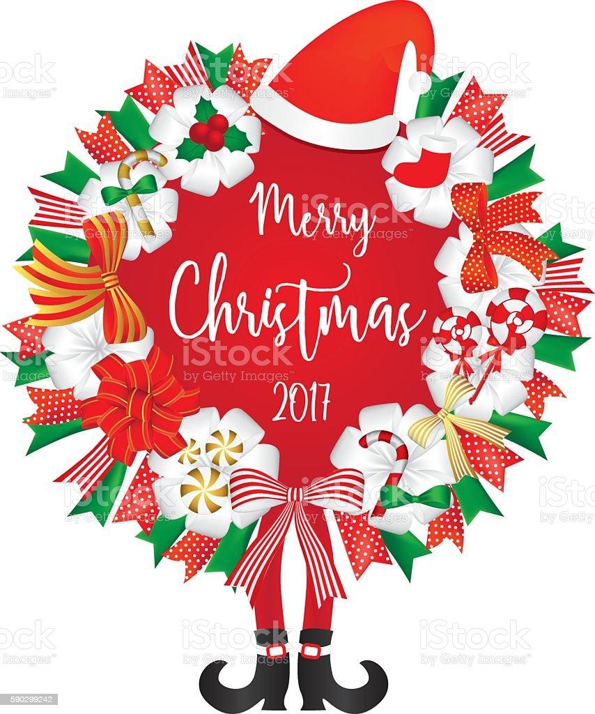 Christmas Wreath decoration with santa hat candy and ribbon christmas wreath decoration with santa hat candy and ribbon — стоковая векторная графика и другие изображения на тему pinaceae Стоковая фотография