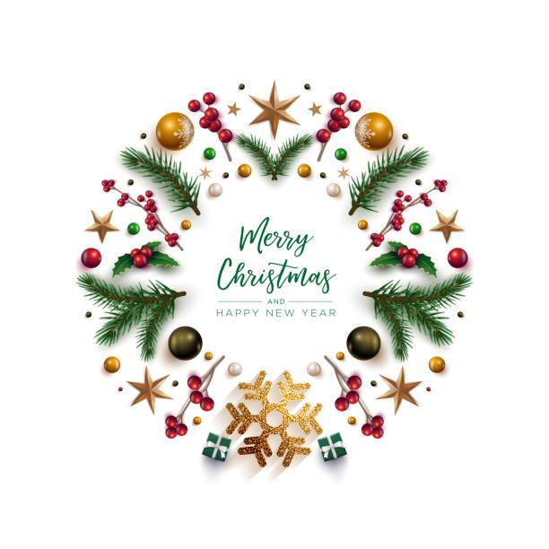 stockillustraties, clipart, cartoons en iconen met kerst krans ontwerp met feestelijke kerst decoratie ornamenten en objecten - kerstster