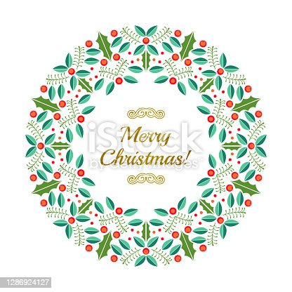 istock Christmas wreath Flat leaves holly plant circle ornament, abstract christmas red berries 1286924127