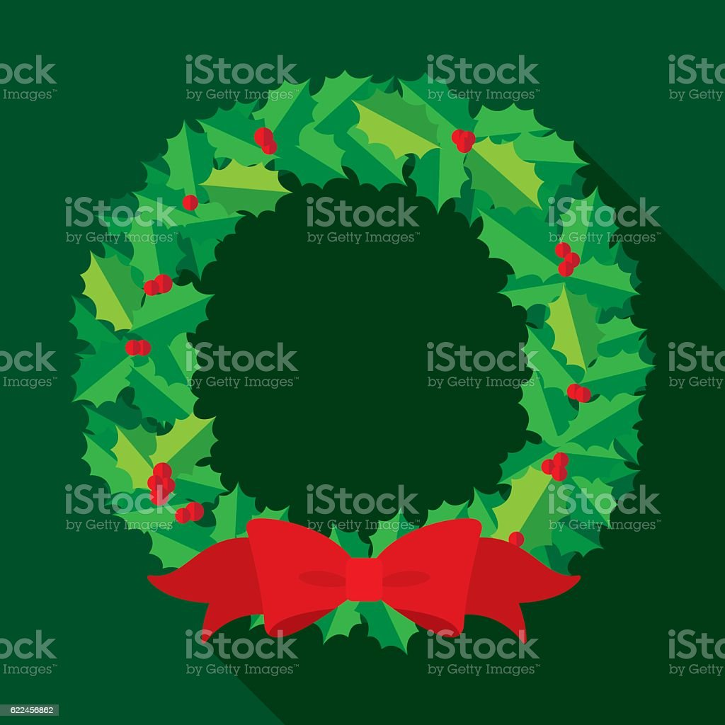 Christmas Wreath Flat – Vektorgrafik