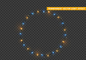 Christmas wreath, frame of New Year's bright glowing lights of garlands. Light effect Xmas decoration round ring. Isolated on a transparent background. Design element. vector illustration.