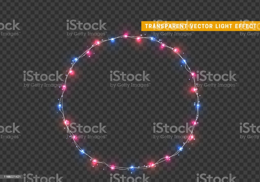 Christmas wreath, frame of New Year\'s bright glowing lights of...