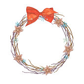 Christmas wreath frame of twigs and holiday decorations.