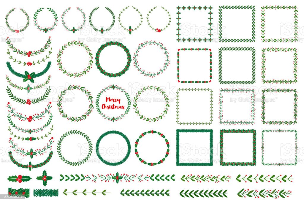 Christmas wreath, frames, brushes royalty-free christmas wreath frames brushes stock illustration - download image now