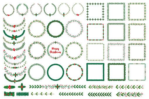 Christmas wreath, frames, brushes
