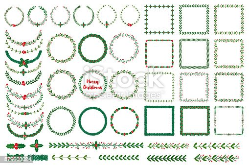 Set of New year, Christmas doodle hand drawn wreath frames, boders. Used brushes included. Vector illustration