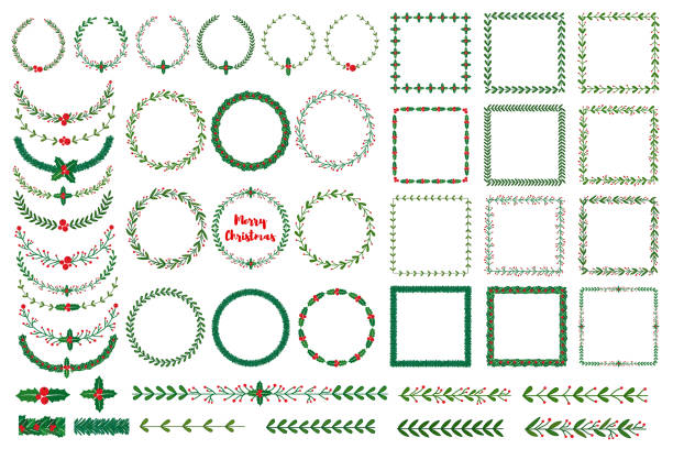 christmas wreath, frames, brushes - holiday stock illustrations, clip art, cartoons, & icons
