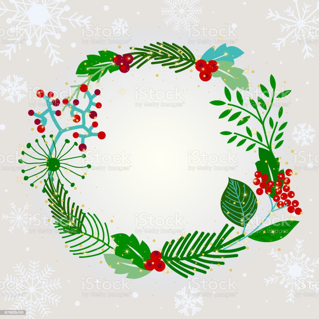 Christmas Wreath Greeting Card With Snowflake Branch And Mistletoe ...