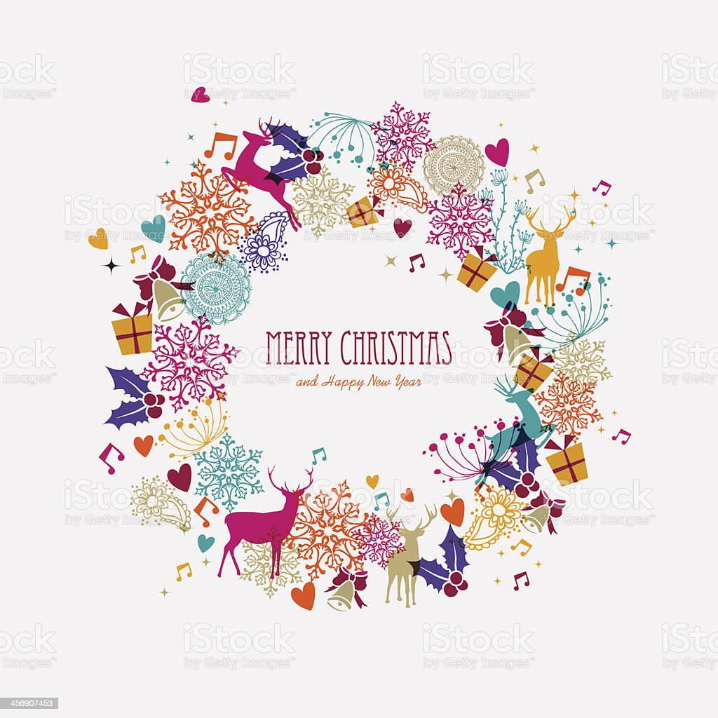 Christmas wreath holiday elements illustration royalty-free christmas wreath holiday elements illustration stock vector art & more images of abstract