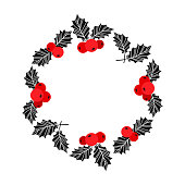 Christmas wreath. Holly berry vector. Christmas symbol, holiday plant isolated on white background, winter illustration. Red and black colors.