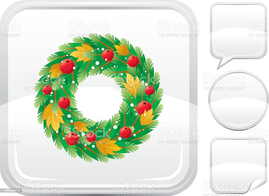 Christmas wreath icon on silver button royalty-free stock vector art