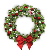 Christmas wreath with red bow isolated on white background. Vector illustration.