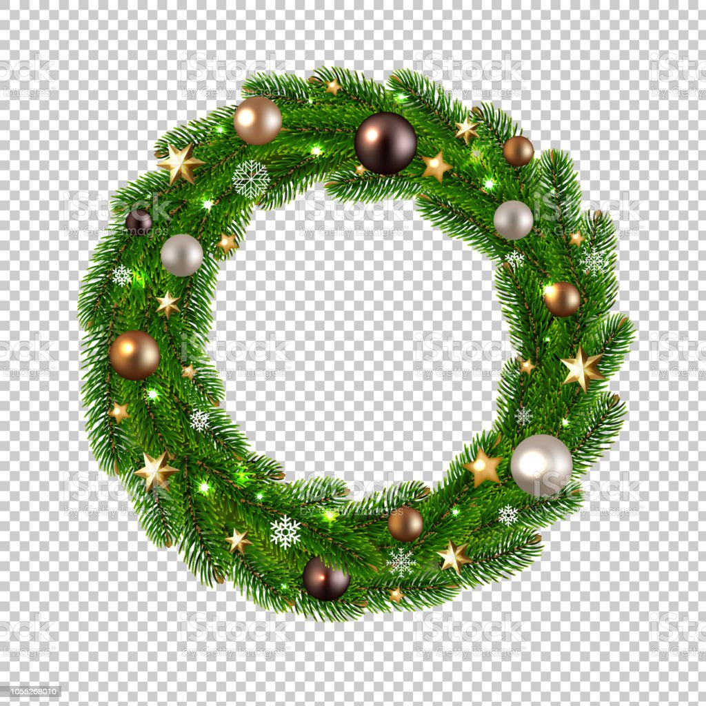 Christmas Wreath Isolated Transparent Background Stock Vector Art