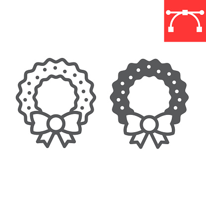 Christmas wreath line and glyph icon, merry christmas and xmas, christmas decorative sign vector graphics, editable stroke linear icon, eps 10.