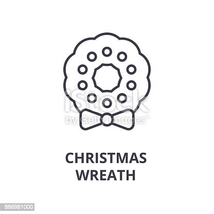 Christmas Wreath Line Icon Outline Sign Linear Symbol Vector Flat