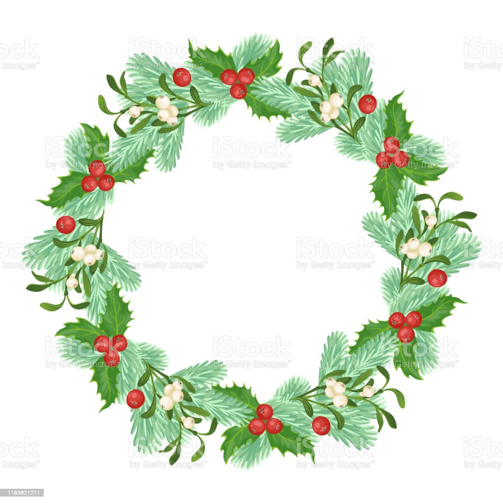 Christmas Wreath Made Of Branches Of Spruce Mistletoe And Holly Berry Isolated On White Background Vector Illustration Of Christmas Decor In Cartoon Simple Flat Style Stock Illustration Download Image Now Istock