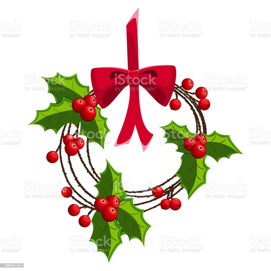 Christmas Wreath Of Holly Berry On A Red Ribbon And Bow Vector Cartoon Illustration Isolated On A White Background Stock Illustration Download Image Now Istock