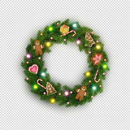 Christmas wreath of realistic Christmas tree branches, lightbulb, gift, cookies, sweets