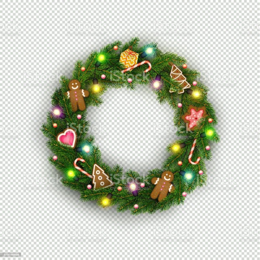 Guirlanda de Natal de galhos de árvores de Natal realista, lâmpada, presente, biscoitos, doces - ilustração de arte em vetor