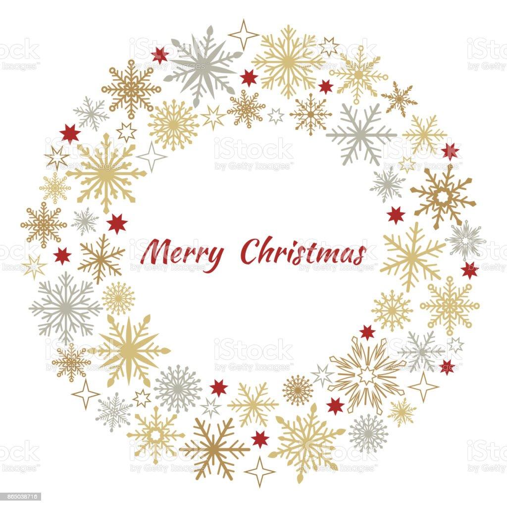 Guirlanda de Natal de flocos de neve. - ilustração de arte em vetor