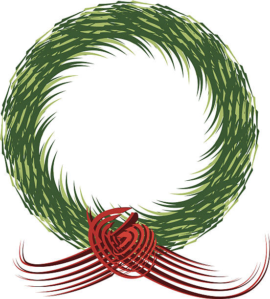 Christmas Wreath, pen and ink style vector art illustration