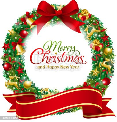 istock Christmas Wreath Red Banner 455090055