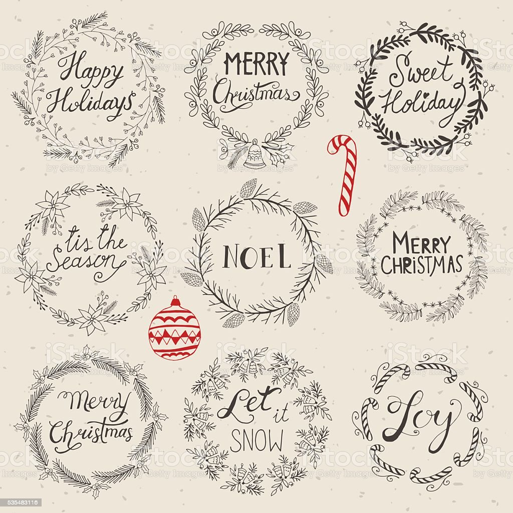 Drawings Of Christmas Wreaths.Christmas Wreath Set For Design Hand Drawing Vector Stock