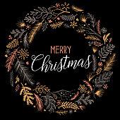 Hand drawn christmas wreath design on white background