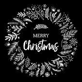 Hand drawn christmas wreath design on black background