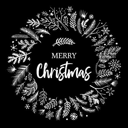 Christmas wreath sketched vector