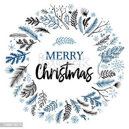 Hand drawn Christmas wreath design on white background for use on Christmas designs, cards, flyers, banners, advertising, brochures, posters, digital presentations