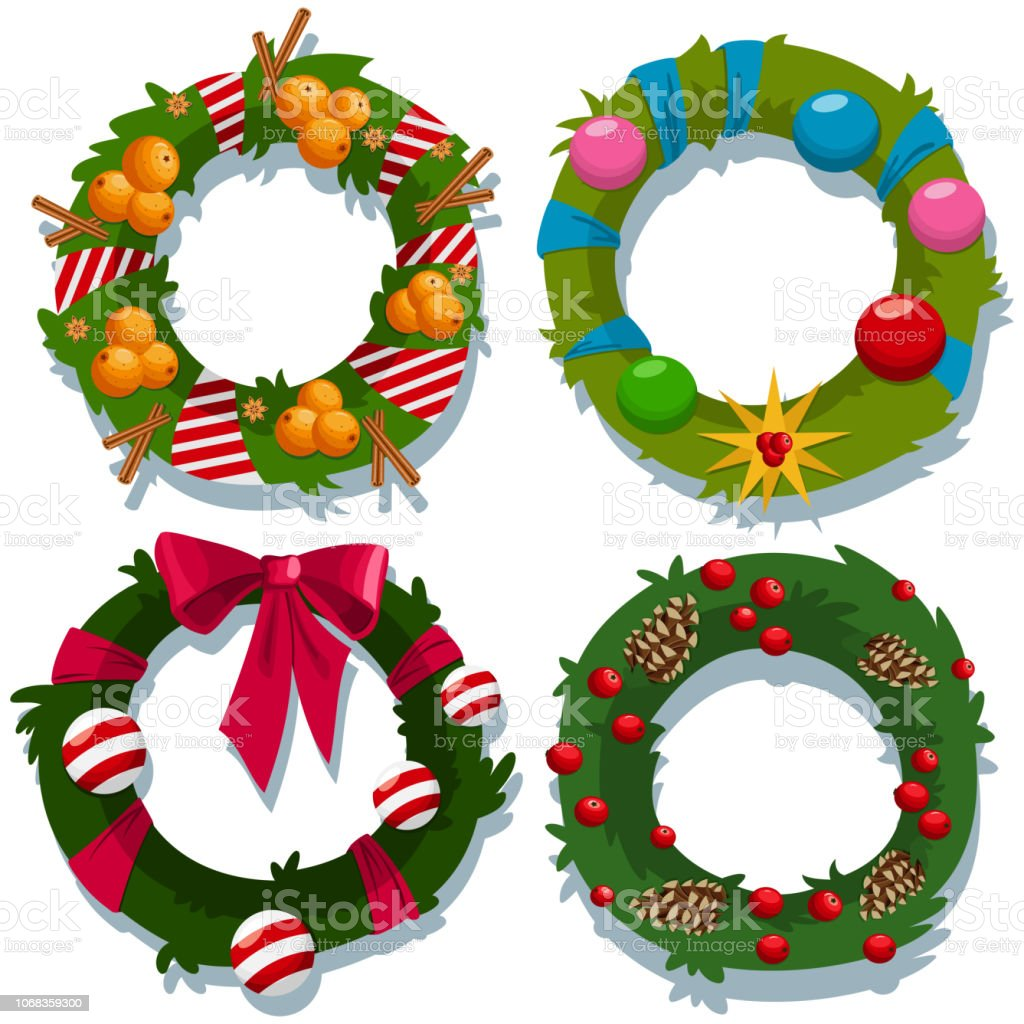 Christmas Wreath Vector.Christmas Wreath Vector Cartoon Decorative Holiday Elements Set Isolated On White Background Stock Illustration Download Image Now
