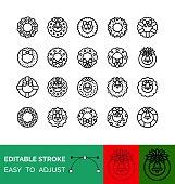 Christmas Wreath vector icon set, line design