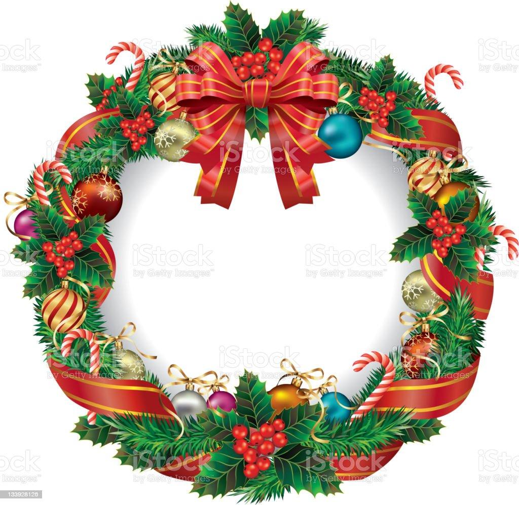 Postcard Red heart-shaped Christmas wreath