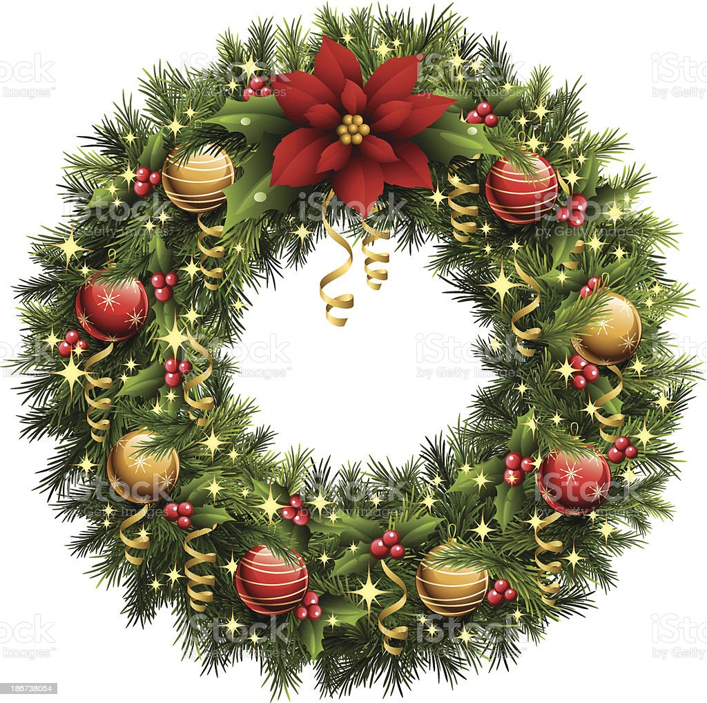 Christmas Wreath vector art illustration