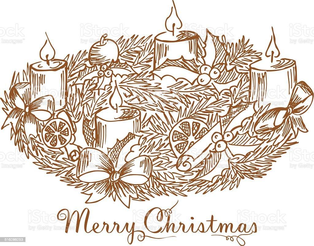 Ilustración De Corona De Navidad Y Más Vectores Libres De Derechos De Acebo Istock