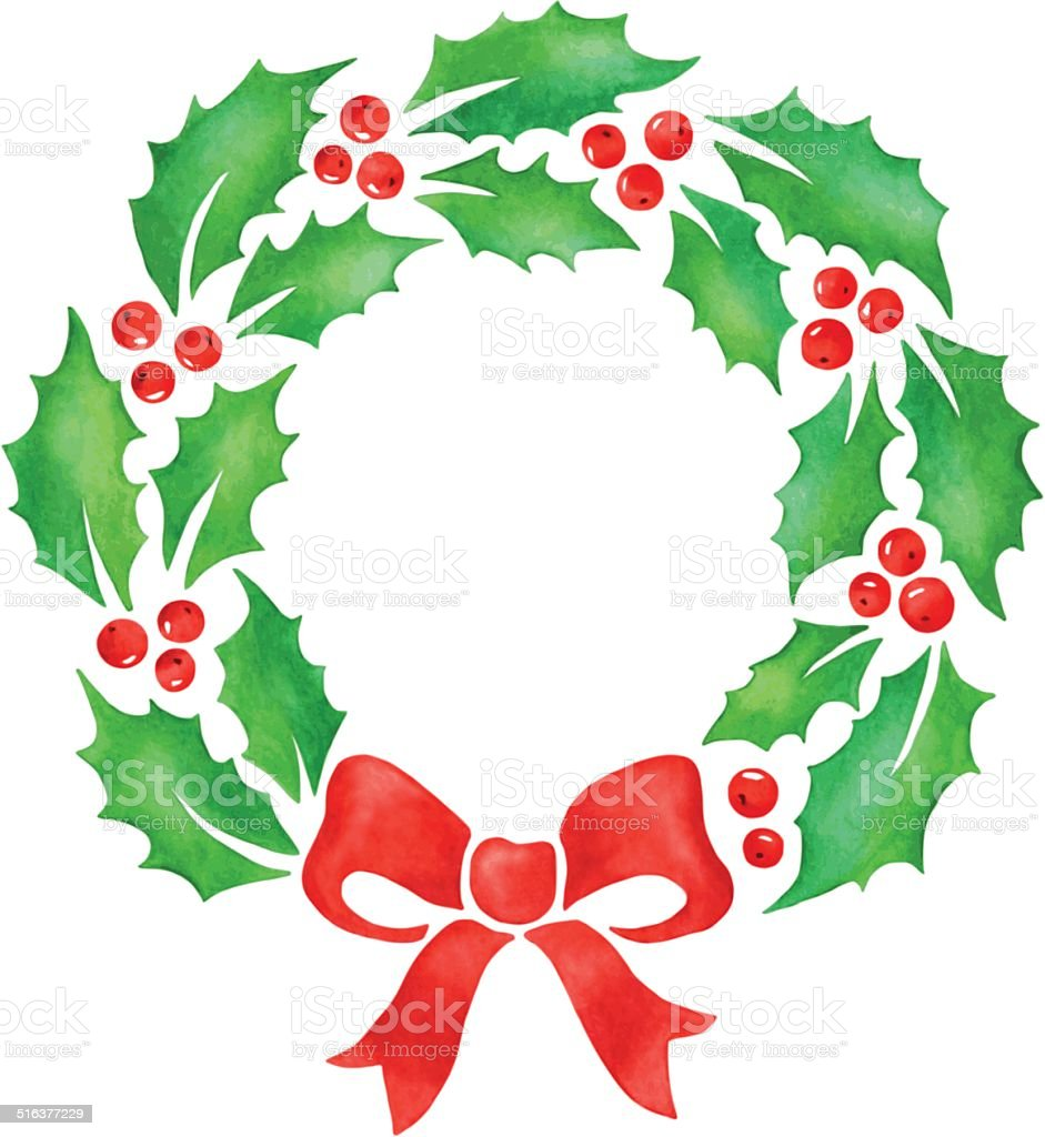 christmas wreath stock vector art more images of art 516377229 rh istockphoto com christmas wreath vector art christmas vector art black and white