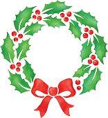 Christmas wreath. Watercolor paint.