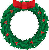 Vector illustration of a christams wreath with a large red bow on it.