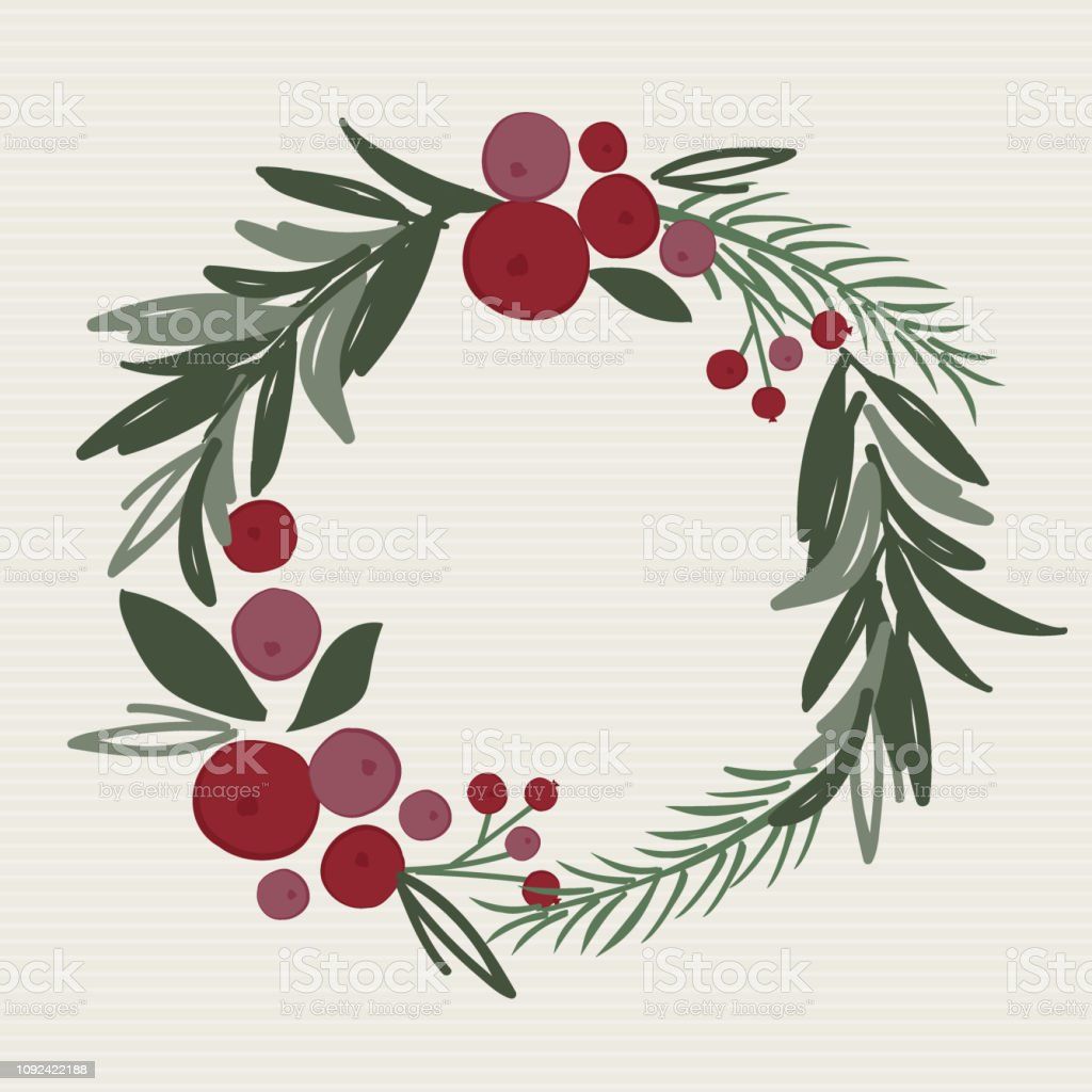 Christmas Wreath Vector.Christmas Wreath Vector Illustration Wreath With Leaf And