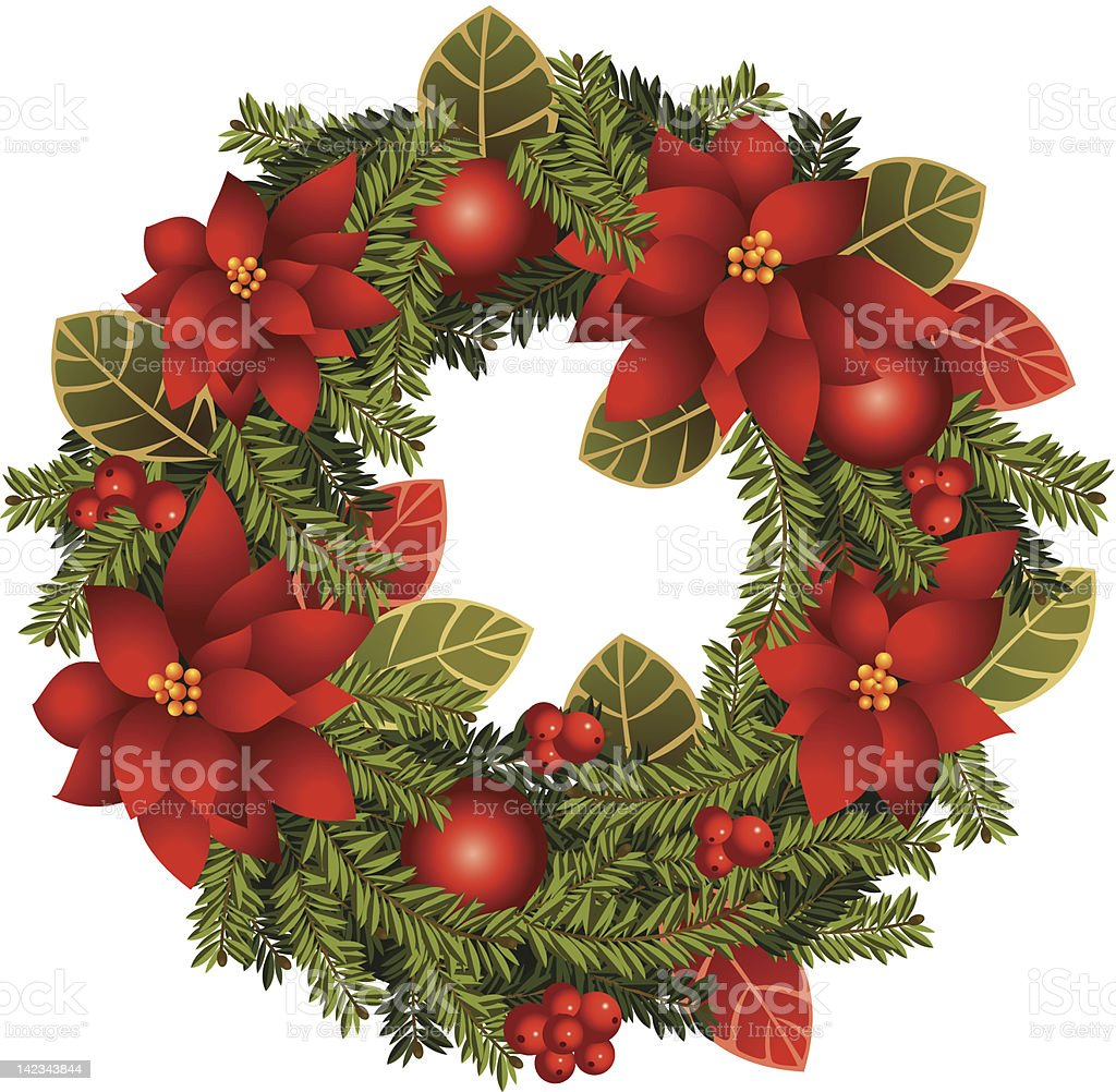 Christmas wreath white background royalty-free stock vector art